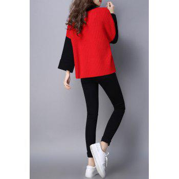 Batwing Color Block Sweater - Rouge ONE SIZE