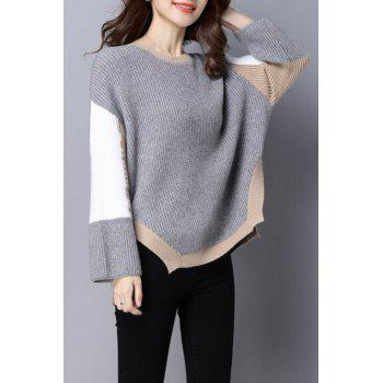 Jewel Neck Color Block Sweater