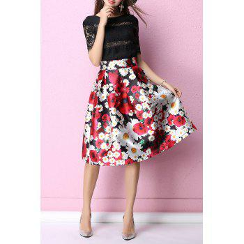 Floral High Rise Tea Length Skirt