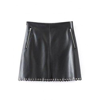 Scalloped Zippered PU A-Line Skirt