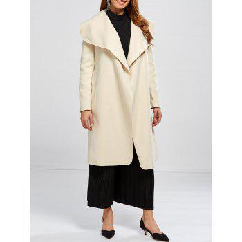 Shawl Collar Wool Blend Wrap Coat