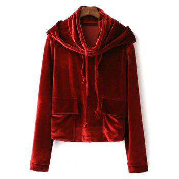 Velvet Cropped String Hoodie - WINE RED S