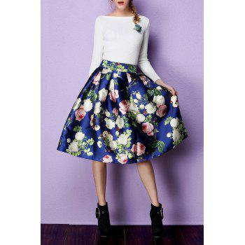 Vintage Floral Tea Length Skirt