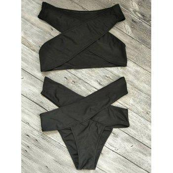 Bandage Criss Cross Cut Out Bikini Set - BLACK BLACK