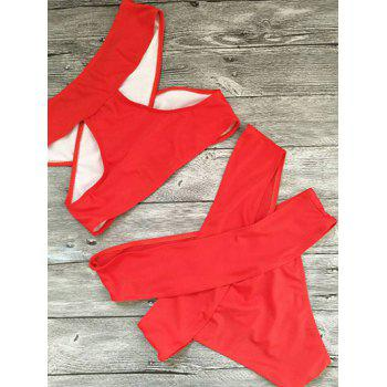 Bandage Criss Cross Cut Out Bikini Set - RED RED