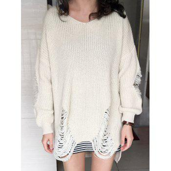 Loose Ripped High Low Sweater