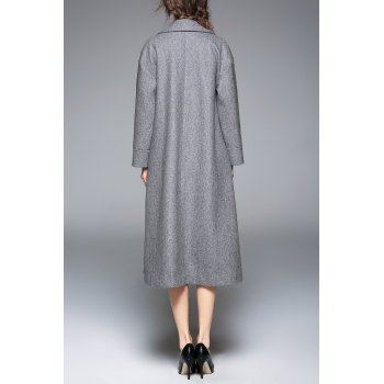 Wool Blend Embroidered Lapel Coat - GRAY XL