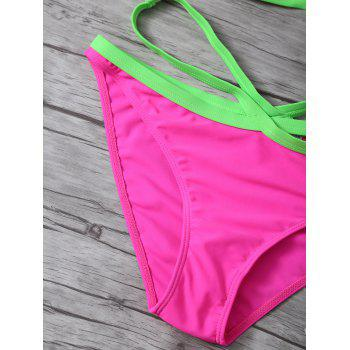 Halter High Cut Color Block Bikini Set - ROSE RED M