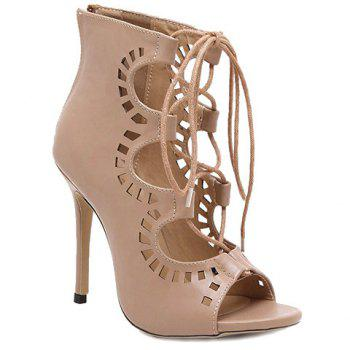 Fashion Lace-Up and Hollow Out Design Peep Toe Shoes For Women - NUDE NUDE
