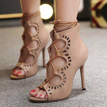 Fashion Lace-Up and Hollow Out Design Peep Toe Shoes For Women - NUDE 37
