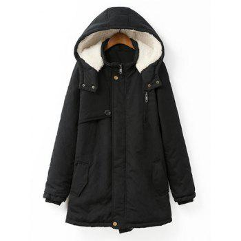 Plus Size Hooded Flocking Coat - BLACK BLACK
