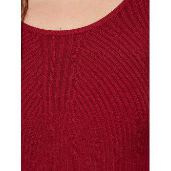 Slim Fit Ribbed Knitwear - WINE RED XL