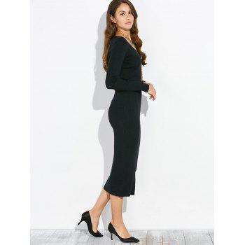 Stretchy Long Sleeve Packet Buttock Knitting Dress - BLACK ONE SIZE