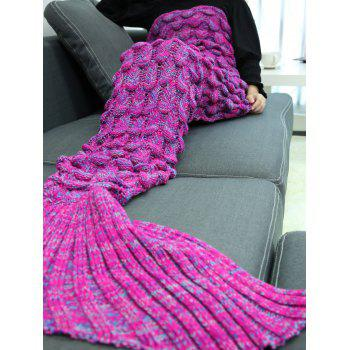 Soft Knitting Fish Scales Design Mermaid Tail Style Blanket - DEEP PURPLE
