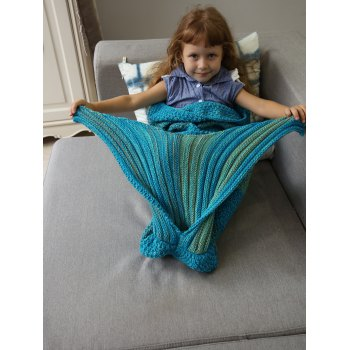 Winter Thicken Longer Color Block Design Knitted Wrap Kids Mermaid Tail Blanket - BLUE