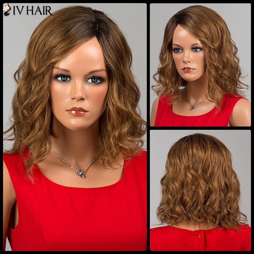 Siv Hair Medium Mixed Color Wavy Side Bang Human Hair Wig