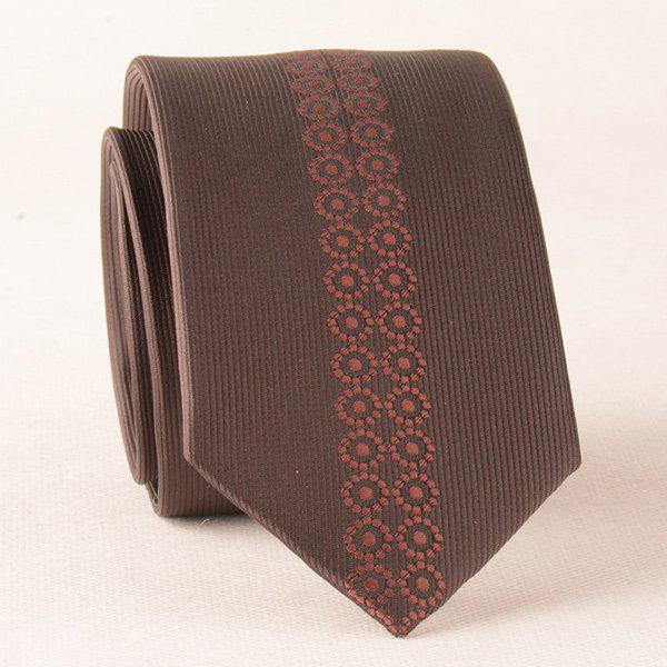 Retro Texture Floral Polyester Neck Tie - COFFEE