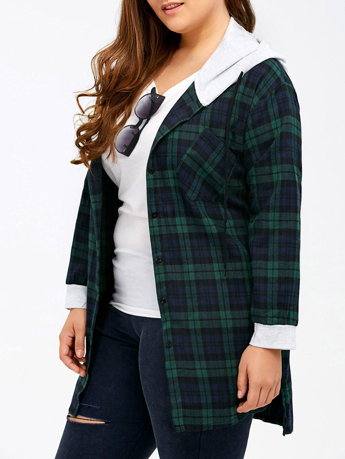 Plus Size Hooded Plaid Flannel Shirt - GREEN 2XL