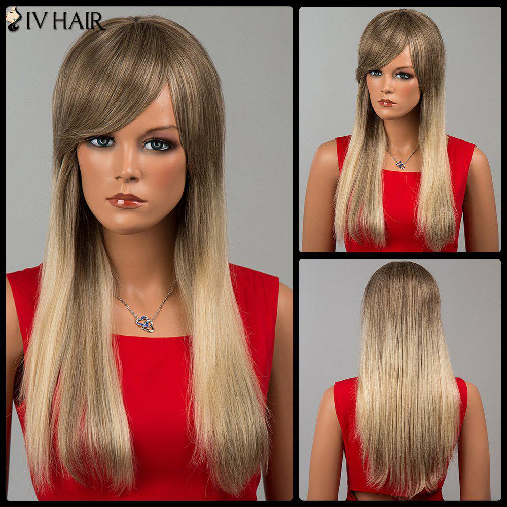 Siv Hair Long Straight Side Bang Human Hair WigHair<br><br><br>Color: COLORMIX