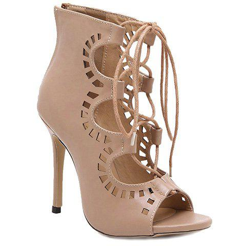 Fashion Lace-Up and Hollow Out Design Peep Toe Shoes For Women - NUDE 35