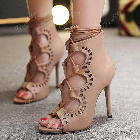 Fashion Lace-Up and Hollow Out Design Peep Toe Shoes For Women - NUDE 36
