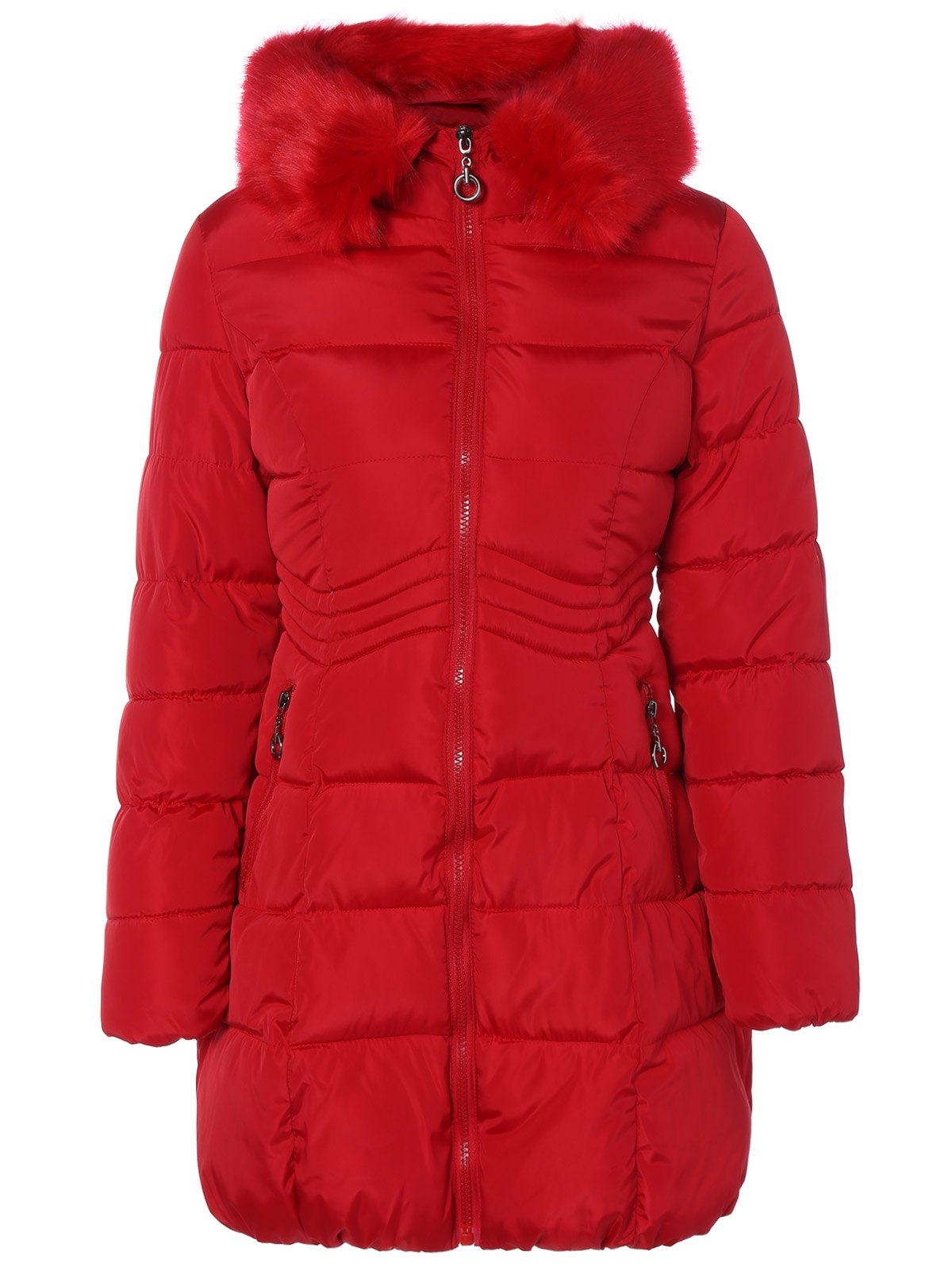 Winter Faux Fur Stripy Hooded Down JacketWomen<br><br><br>Size: L<br>Color: RED