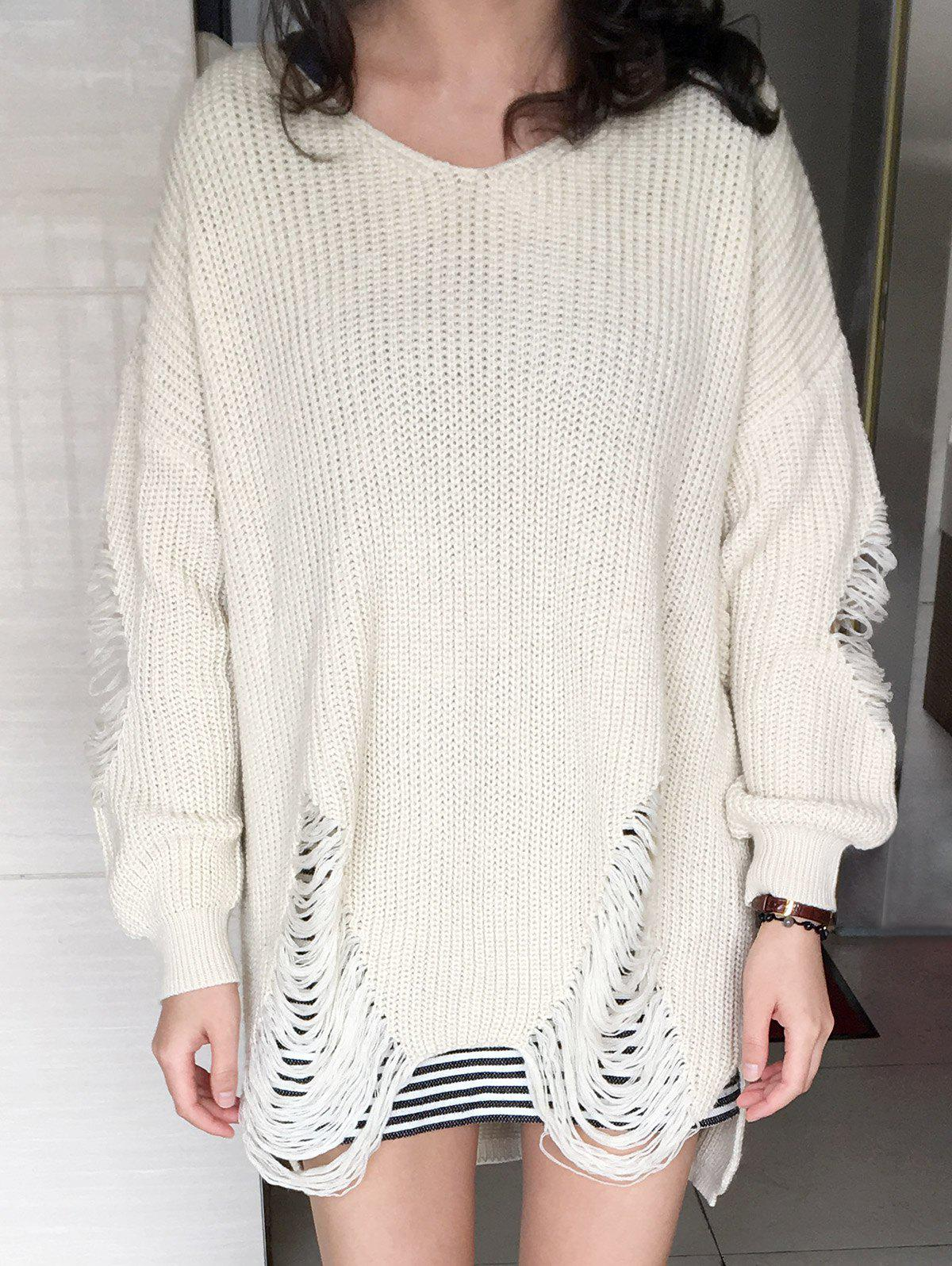 Loose Ripped High Low Sweater - GLITTER CREAMY WHITE XL