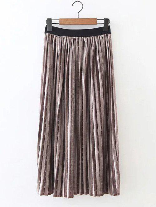 Retro Pleated Long SkirtWomen<br><br><br>Size: ONE SIZE<br>Color: KHAKI