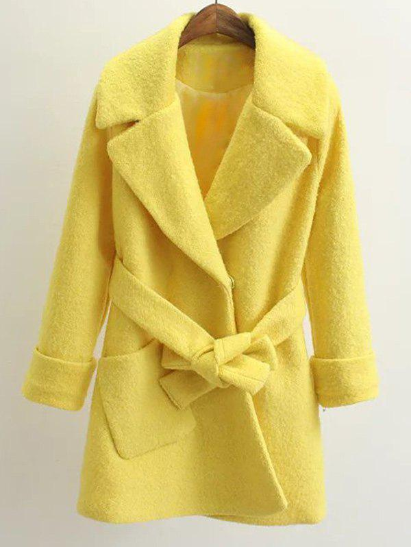 Belted Lapel Wool Coat - YELLOW S