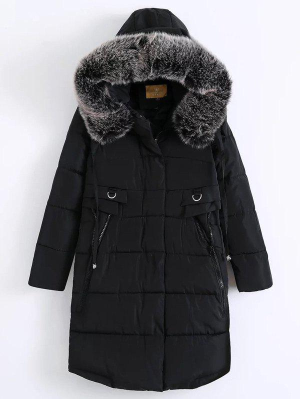 Fur Hooded Padded Coat - BLACK XL