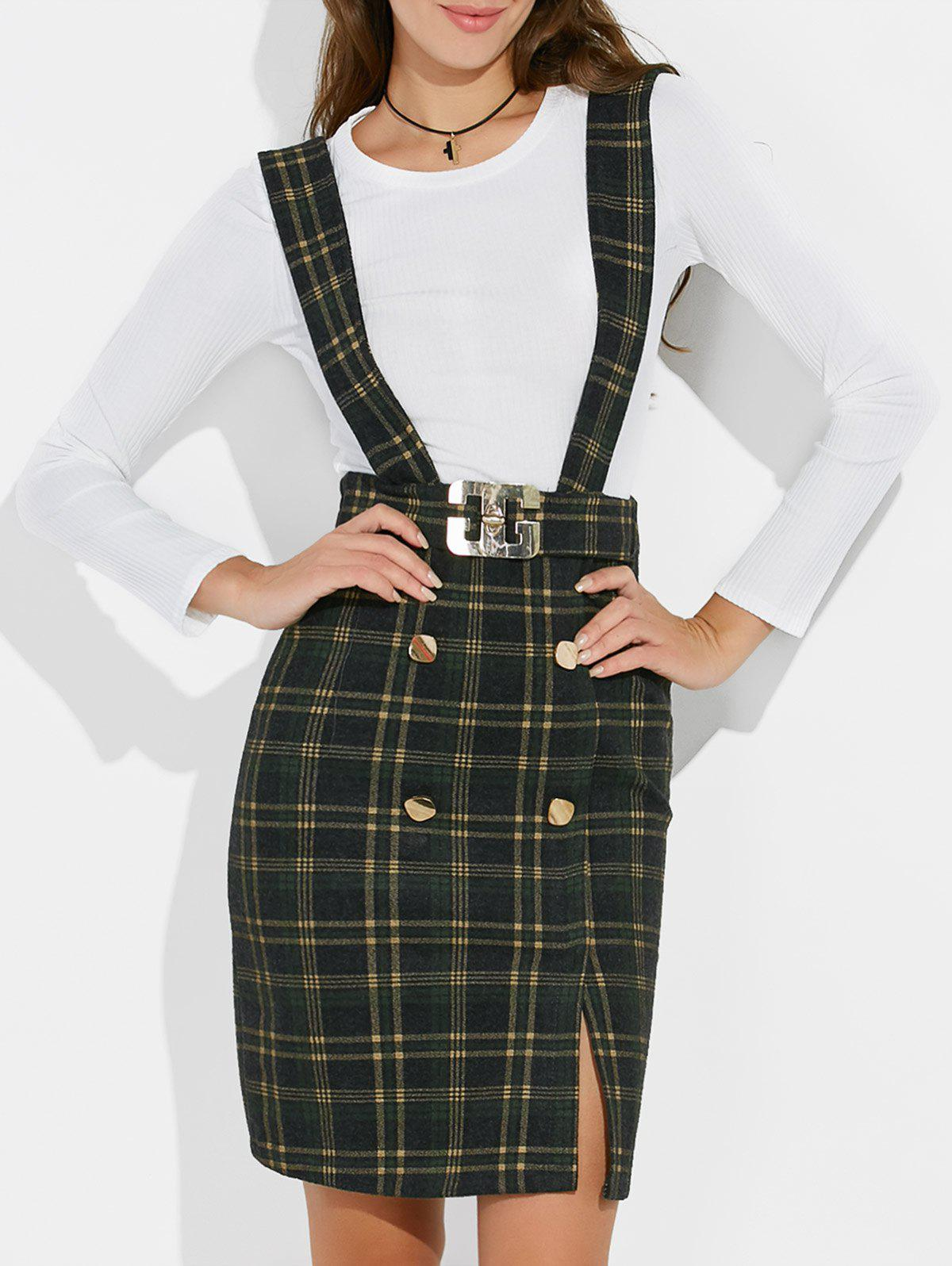 Plaid Suspender Skirt and Slim Fit Tee - GREEN M