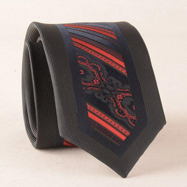 Stripe Jacquard Polyester Bridegroom Neck Tie - RED