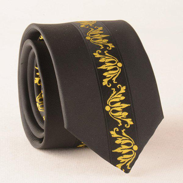 Vintage Paisley Polyester Narrow Neck Tie - YELLOW/BLACK