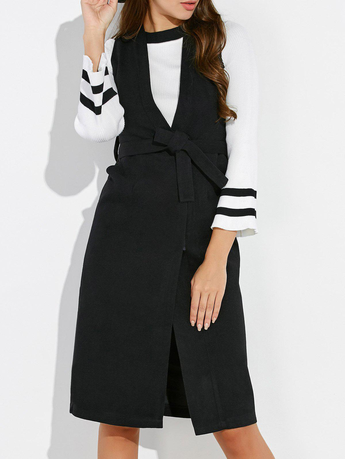 Bell Sleeve T-Shirt with Belted Waistcoat - WHITE/BLACK M