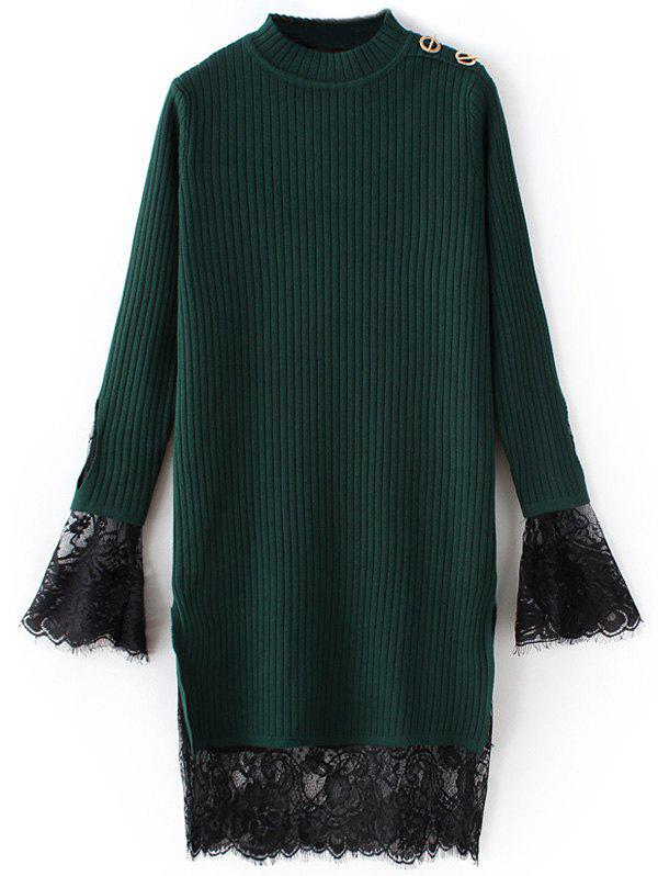 Lace Panel Ribbed Layered Sweater Dress - GREEN ONE SIZE