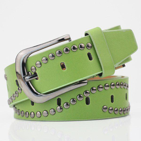 Wavy Rivets PU Wide Belt - LIGHT GREEN