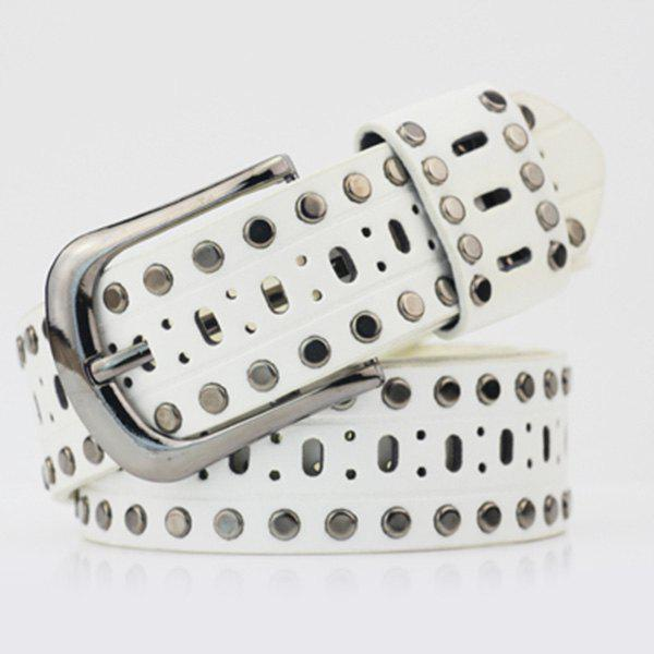 Hollow Out Rivets PU Wide Belt - WHITE