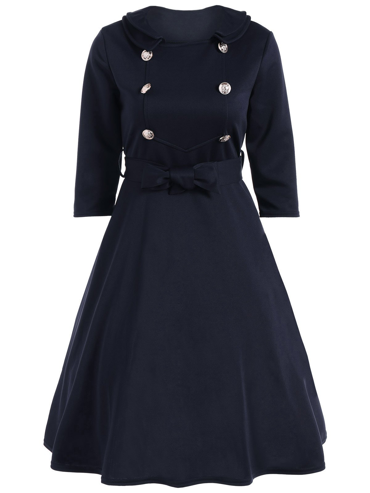 Bowknot Belted Swing Dress - CADETBLUE S