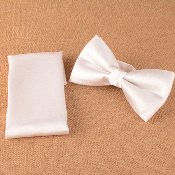 Wedding Silky Square Pocket Bow Tie Set - PEARL LIGHT PINK