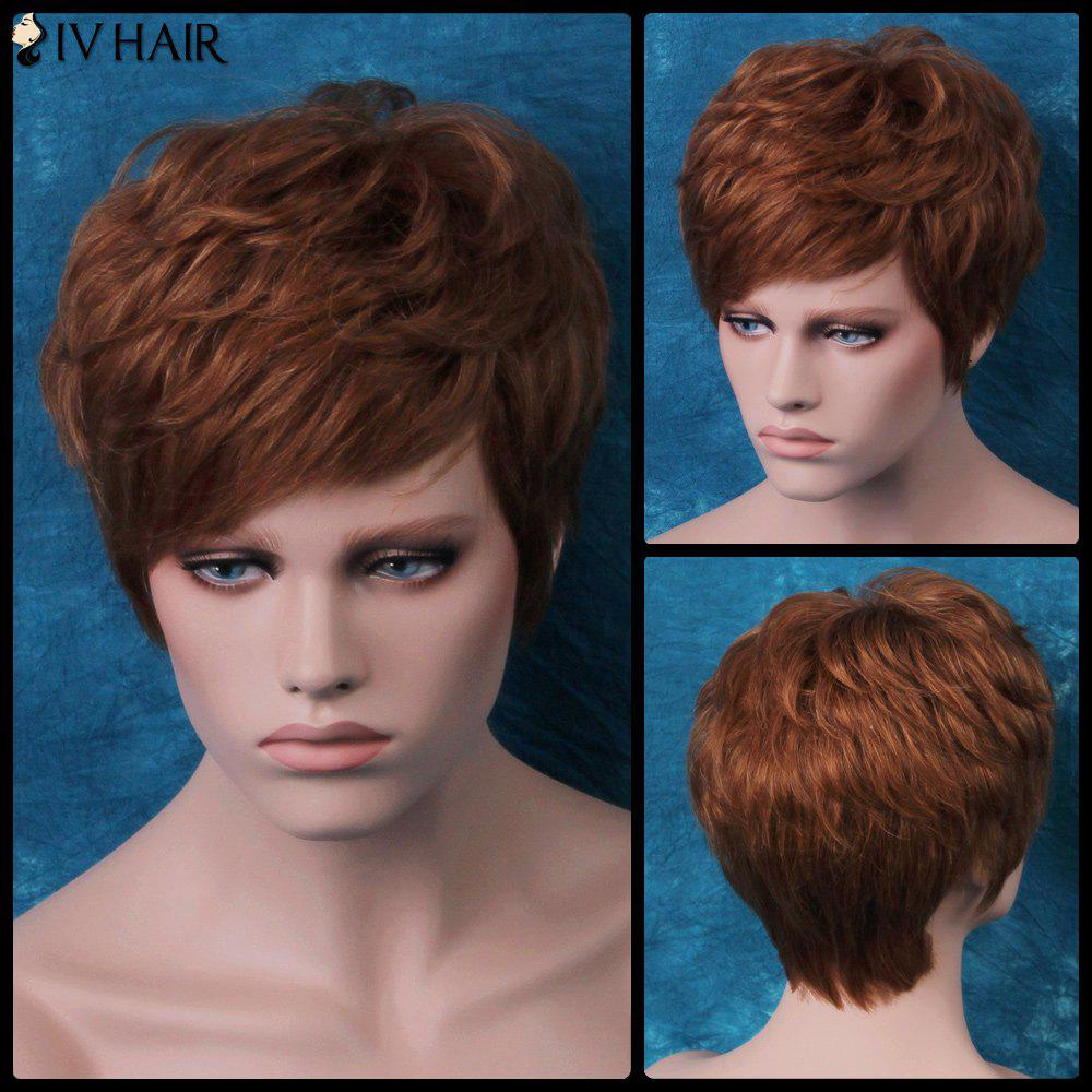 Siv Layered Slightly Curled Short Side Bang Human Hair Wig - AUBURN BROWN 3