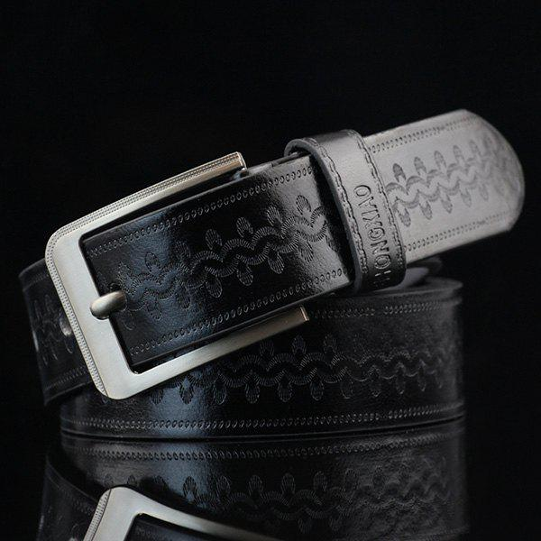 Retro Wavy Embossed Wide Belt - BLACK