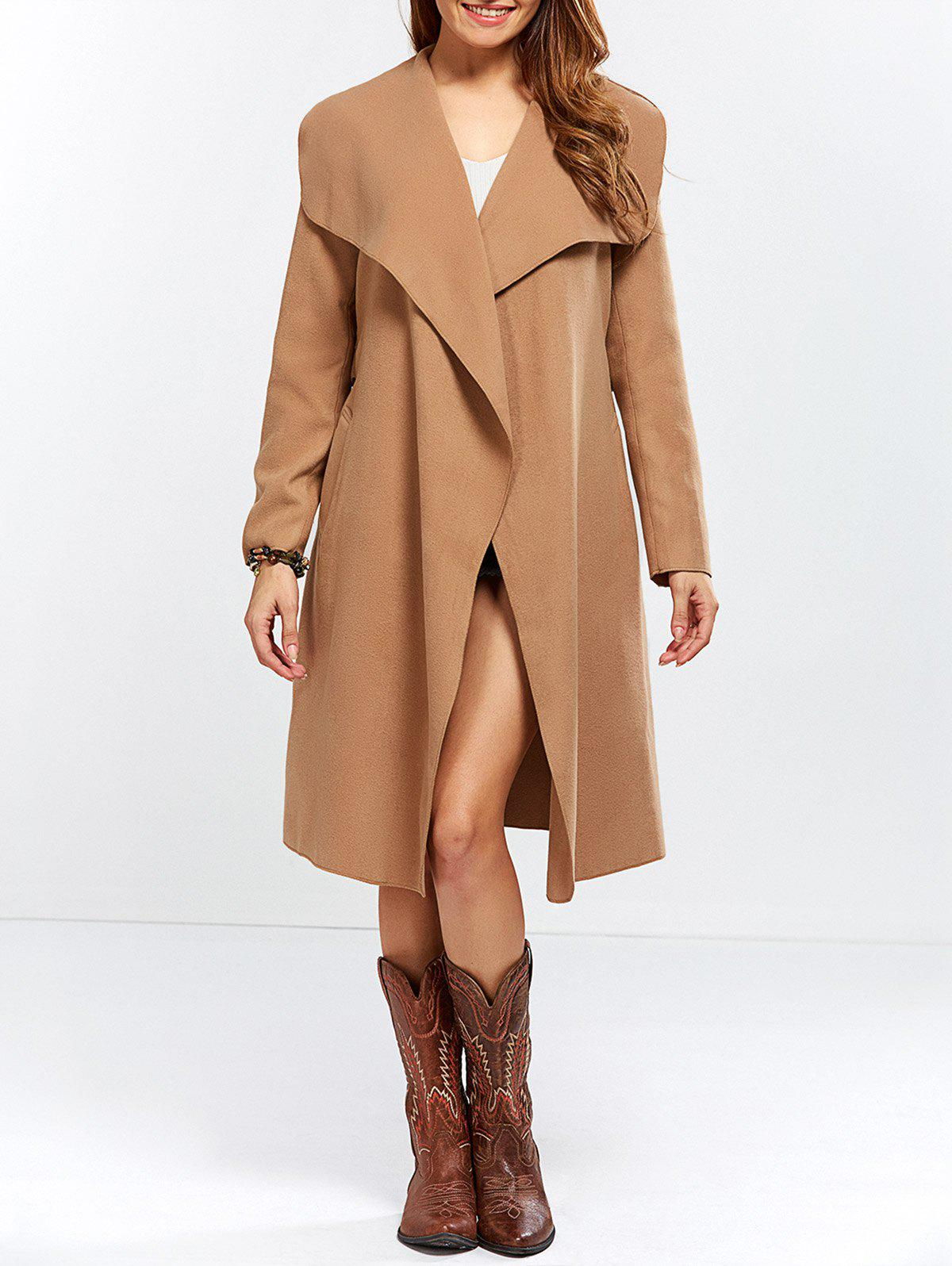 Shawl Collar Wool Blend Belted Wrap Coat - CAMEL S