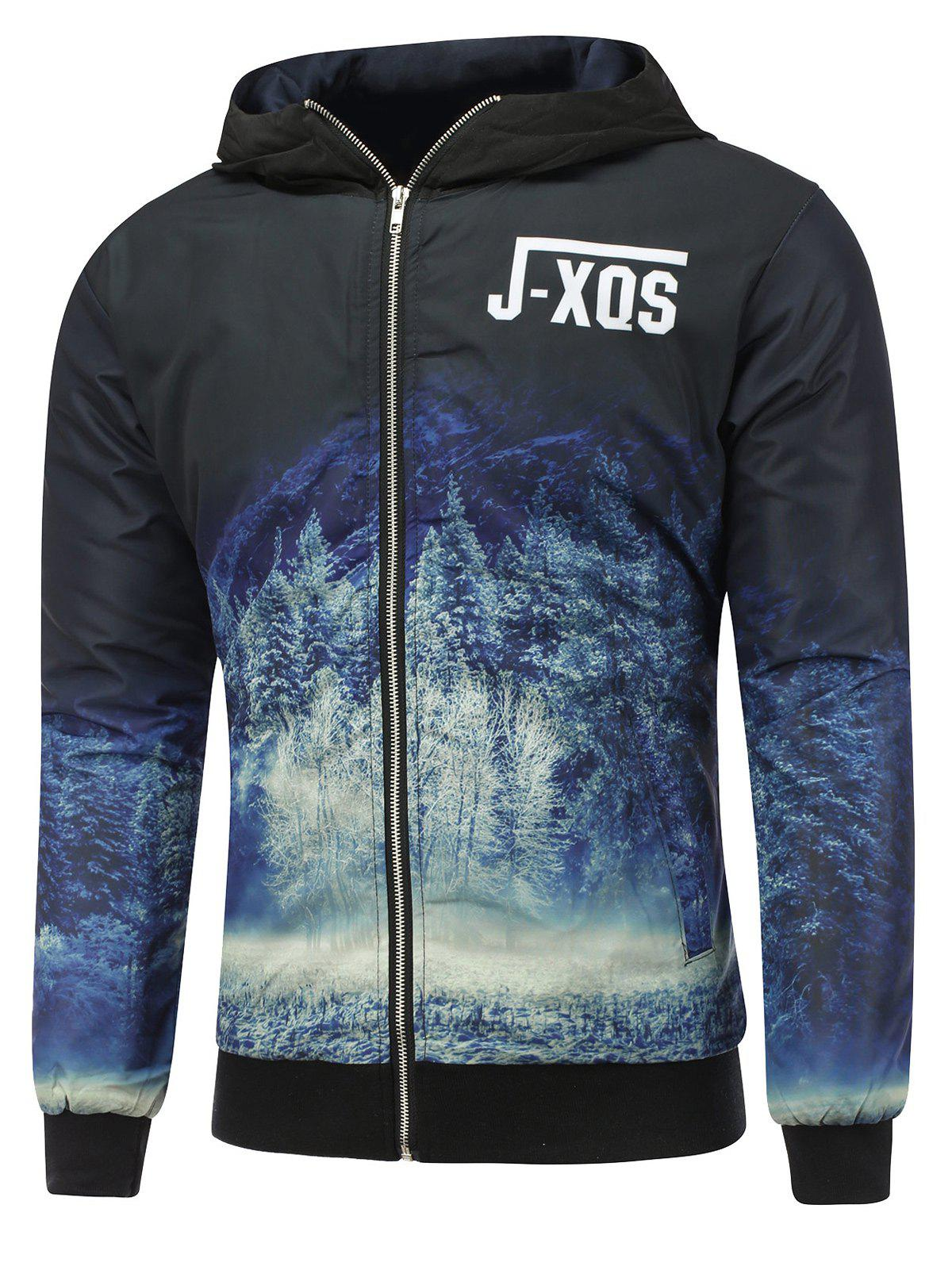 Zip Up Forest Print Hooded Padded Jacket puma style padded jacket w forest night