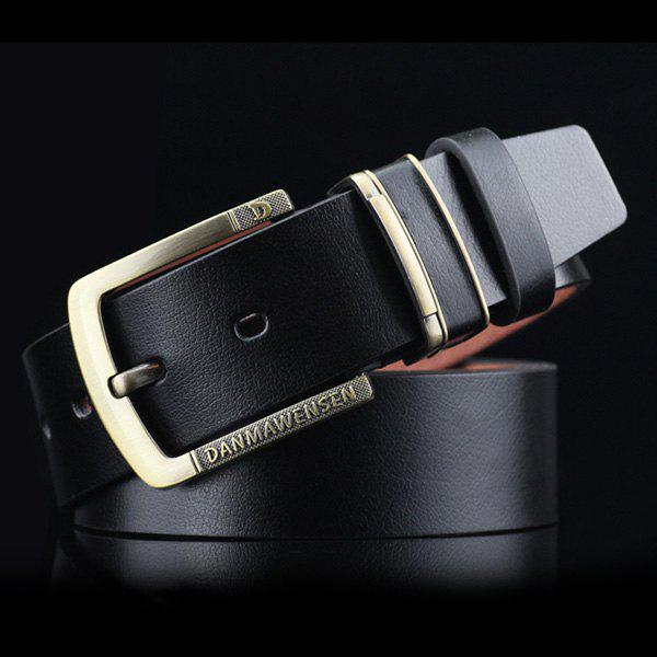 Letters Cameo Buckle PU Wide Belt - BLACK