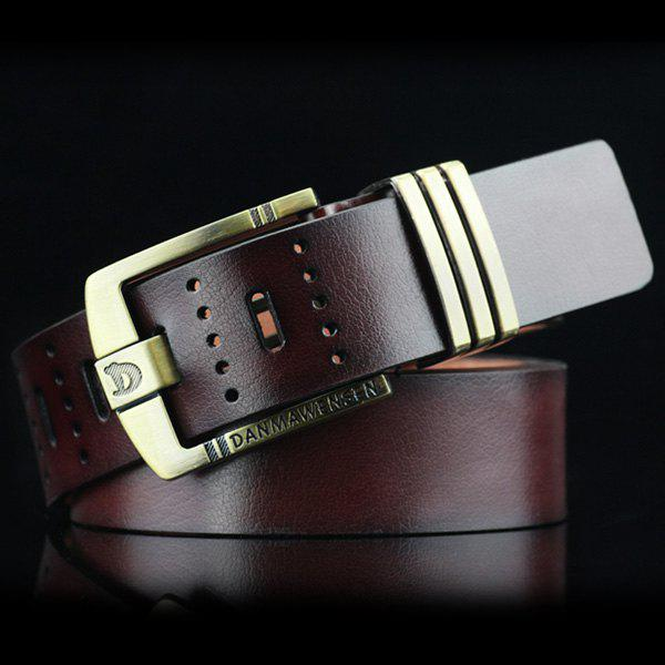 Hollow Out Letters Cameo Buckle PU Wide Belt - COFFEE