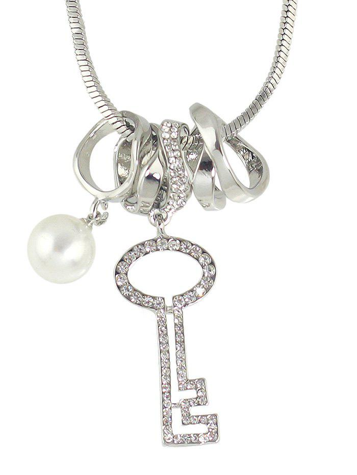 Rhinestone Key Faux Pearl Sweater Chain - SILVER