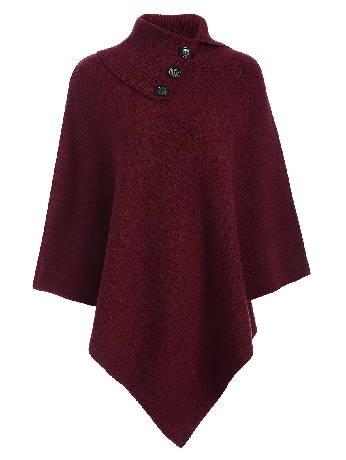 Knitted Convertible Neck Asymmetric Cape - WINE RED ONE SIZE