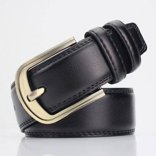Pin Buckle PU Wide Belt - BLACK
