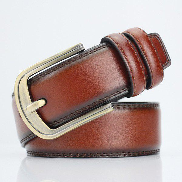 Pin Buckle PU Wide Belt - BROWN