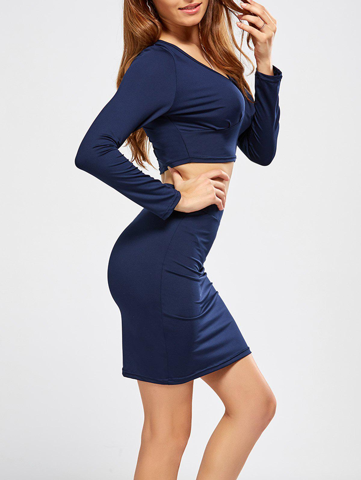 V Neck Crop Top and Bodycon Skirt - PURPLISH BLUE S